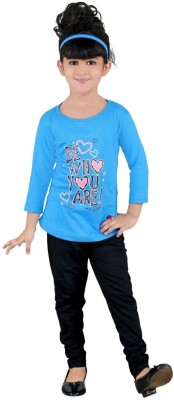 Bella & Brat Girl's Graphic Print Blue, Black Top & Pyjama Set