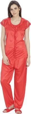 Secret wish Women's Solid Red Top & Pyjama Set