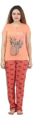 Sunwin Women's Printed Orange, Red Top & Pyjama Set