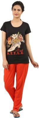 New Darling Women's Printed Black, Orange Top & Pyjama Set