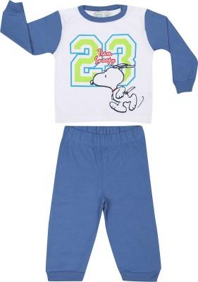 FANCY BUDS Baby Boy's Printed Blue Top & Pyjama Set