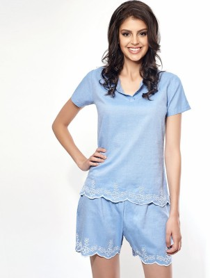 Penny by Zivame Women,s Solid Blue Top & Shorts Set
