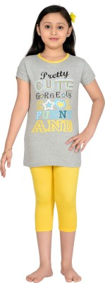 Punkster Girl's Graphic Print Grey, Yellow T-shirt & Three-forth Set