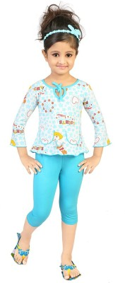 Koolkids Baby Girl's Printed Light Blue Top & Pyjama Set