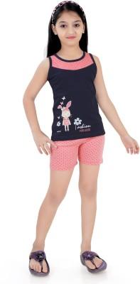 Just4You Girl's Printed Pink Top & Shorts Set