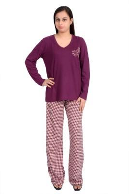 Parv Collections Women's Printed Purple Top & Pyjama Set