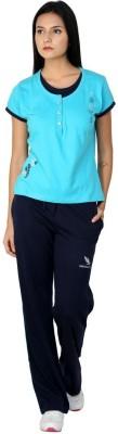 American Cult Ac Women's Solid Blue Top & Pyjama Set