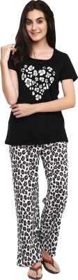 Softwear Women's Self Design Black Top & Pyjama Set