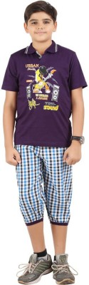 Meril Boys Solid Purple T-shirt & Three-forth Set
