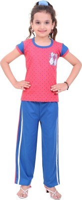 Be 13 Girl's Printed Pink Top & Pyjama Set