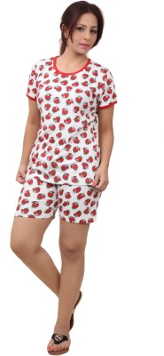 Div Women's Printed Red Top & Shorts Set