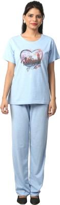 Elite Women's Printed Light Blue Top & Pyjama Set
