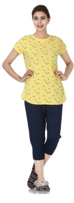 Broche Women's Printed Yellow Top & Capri Set