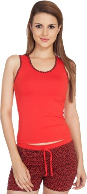 SOIE Women's Printed Red Top & Shorts Set