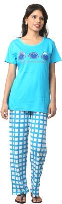 Elite Women's Printed Light Blue, White Top & Pyjama Set