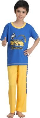 Kanvin Boy's Printed Dark Blue Top & Pyjama Set