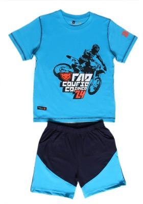 Prince And Princess Boy's Printed Blue Top & Shorts Set