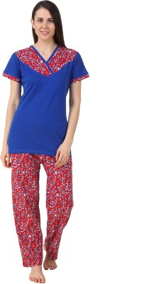 Fasense Women's Solid, Floral Print Blue, Red Top & Pyjama Set