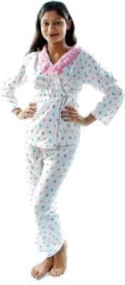 Gwyn Lingerie Women's Printed White Top & Pyjama Set