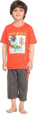 Kanvin Boy's Printed Orange Top & Capri Set