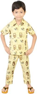 Koolkids Boy's Printed Yellow Top & Pyjama Set