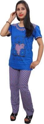 Indiatrendzs Women's Printed Blue Top & Pyjama Set