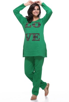 Dove Women's Printed Green Top & Pyjama Set