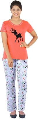 Gallop Women's Printed Orange Top & Pyjama Set