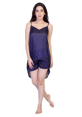 Cruzaar Women's Solid Blue Top & Shorts Set