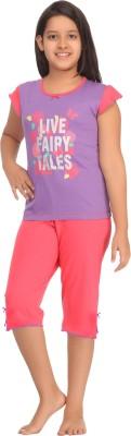 Kanvin Girl's Printed Purple Top & Capri Set