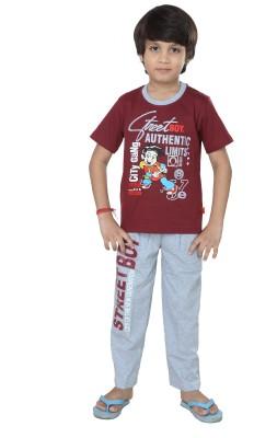 Purple Boy's Graphic Print Maroon Top & Pyjama Set