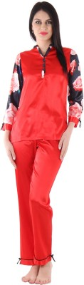 Private Lives Women's Printed Red Top & Pyjama Set