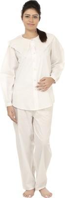 After Dark Women,s Solid White Top & Pyjama Set