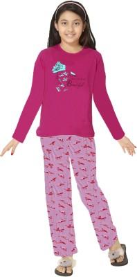 So Sweety Girl's Solid Purple Top & Pyjama Set