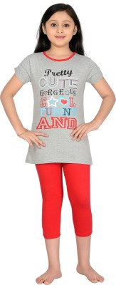 Punkster Girl's Graphic Print Grey, Red T-shirt & Three-forth Set