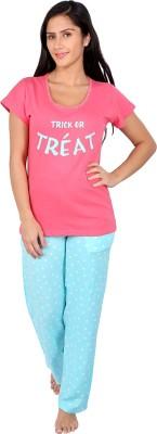 Vixenwrap Women's Polka Print Pink Top & Pyjama Set