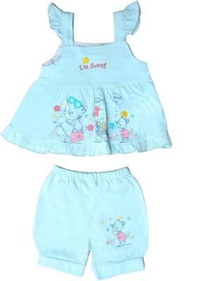 Munna Munni Kids Apparel Baby Girl's Self Design Light Blue Top & Shorts Set