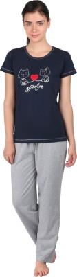 Lazy Dazy Women's Applique, Printed Blue, Grey Top & Pyjama Set