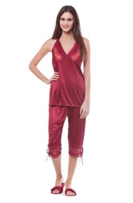 Se Deplace Women's Solid Maroon Top & Capri Set