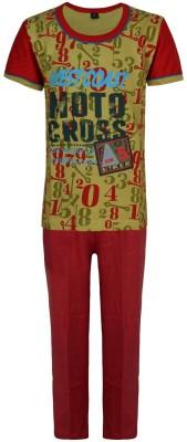 Jazzup Boy's Printed Red Top & Pyjama Set