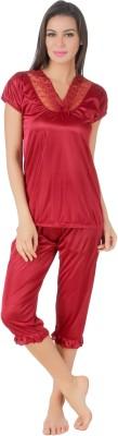 Masha Women's Solid Brown Top & Pyjama Set