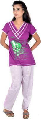 Rosabela Women's Printed Green Top & Pyjama Set