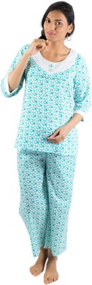 Morph Maternity Night Suit Women's Printed White Top & Pyjama Set
