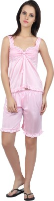 Teleno Night Women's Solid Pink Top & Shorts Set