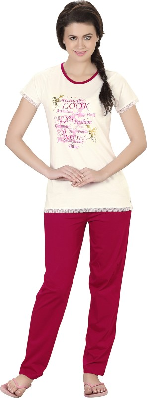 Lazy Dazy Women's Printed White, Red Top & Pyjama Set