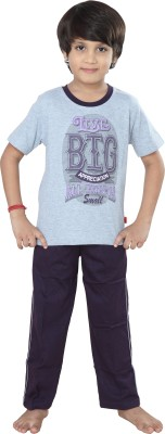 Purple Boy's Graphic Print Grey Top & Pyjama Set