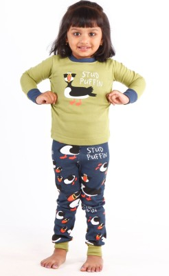 Lazy One Girl's Animal Print Multicolor Top & Pyjama Set