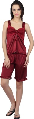 Teleno Night Women's Solid Maroon Top & Shorts Set