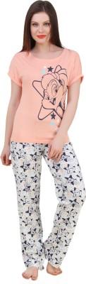 BrandMeUp Women,s Printed Pink Top & Pyjama Set