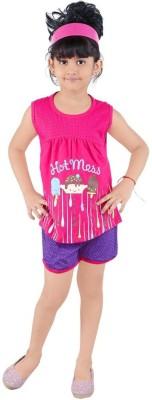 Bella & Brat Girl's Printed Pink, Purple Top & Shorts Set